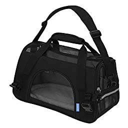 OxGord Airline Approved Pet Carriers w/ Fleece Bed For Dog & Cat - Medium, Soft Sided Kennel - 2016 Newly Designed Model, Onyx Black