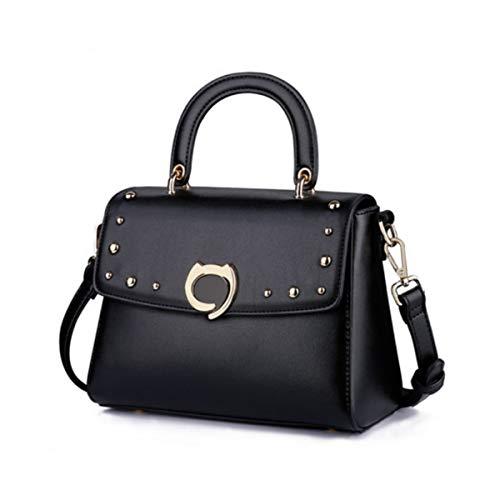 Hengxiang Girls Bag Morden Single Shoulder Messenger Bag Simple Wind Rivet Handbag Tide Wedding Bag Bride Bag Big Capacity Handbag (Color : Black)