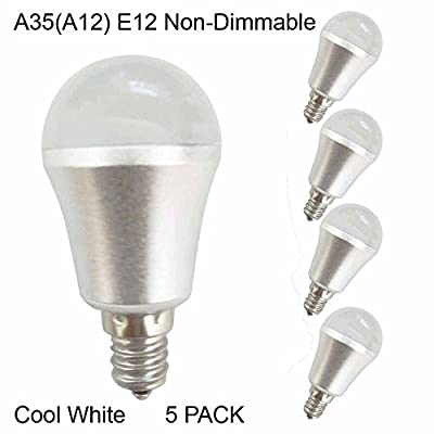 (5 Pack) 120V 3W Cool White A35?A12) Non-Dimmable LED flood Bulbs, E12 base, 25W Incandescent Bulbs Equivalent, FCC Listed, 240lm,5500K. ...