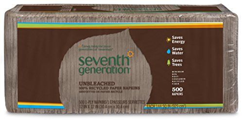 Seventh Generation 100% Recycled Unbleached Paper Napkins, Lunch and Dinner Napkins, 500ct (Dinner Recycled Napkin)