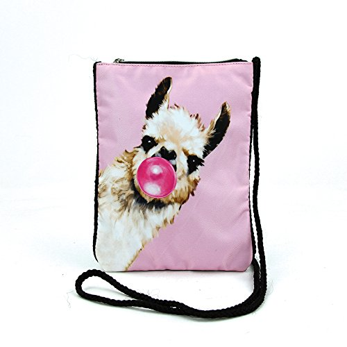 (Bubble Gum Llama Crossbody Pouch in Polyester)