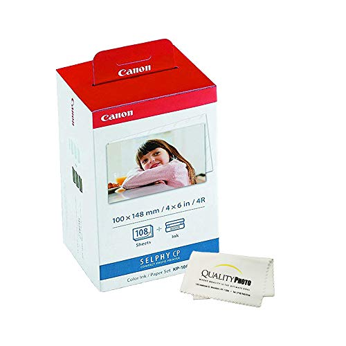 Canon KP-108IN 3 Color Ink Cassette and 108 Sheets 4 x 6 Paper Glossy for SELPHY CP1300, CP1200, CP910, CP900, CP760, CP770, CP780 CP800. Bonus: Quality Photo Microfiber Cloth (Cassette Color)