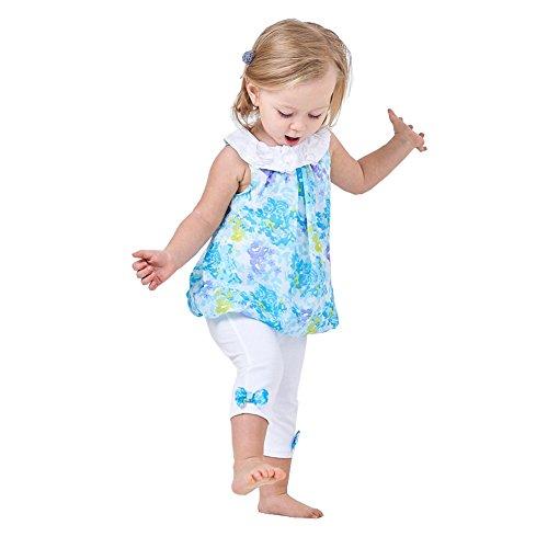 MyCHIC Baby Girl Clothes Set Chiffon Shirt Dress Tops + Pants 2 Piece Summer Outfits (Blue, 2-3T)