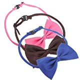 SKL Set of 3 Adjustable Dog Bow Tie Pet Collar Perfect for Wedding Tie Party Accessories (Deep Pink+Blue+Coffee)