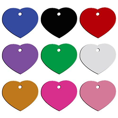 Hundemarke Herzform silber, Hundeanhänger, Anhänger fürs Halsband - Halsbandanhänger - Katzenmarke - in viele Farben mit Wunschtext
