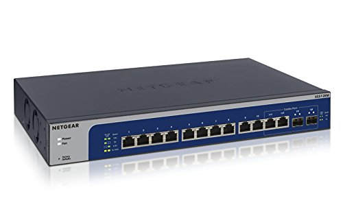 NETGEAR 12-port 10-Gigabit / Multi-Gigabit Ethernet Smart Managed Plus Switch, 2 x 10G SFP+ Fiber ports, Desktop / Rackmount, 12 x Multi-speed ports (XS512EM) by NETGEAR
