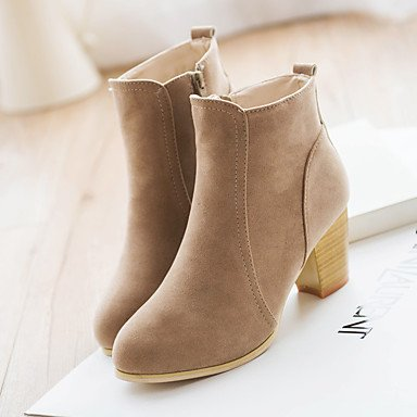 RTRY Women's Shoes Nubuck leather Fall Winter Fashion Boots Boots Chunky Heel Booties/Ankle Boots For Casual Almond Wine Black US8 / EU39 / UK6 / CN39 YGEygF