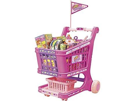IMITOYS Carrito de la Compra Rosa con 60 Piezas: Amazon.es: Juguetes y juegos
