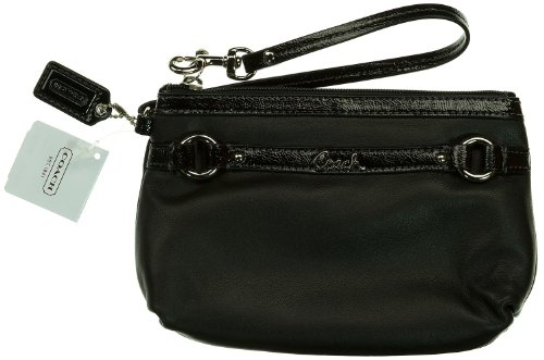 Coach Gallery Leather Medium Wristlet F48294 (SV/Black) by Coach