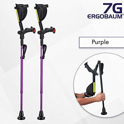 Ergobaum® Prime 6th Generation By Ergoactives. 1 Pair (2 Units) of Ergonomic Forearm Crutches - Adult 5' - 6'6'' Adjustable (Purple)