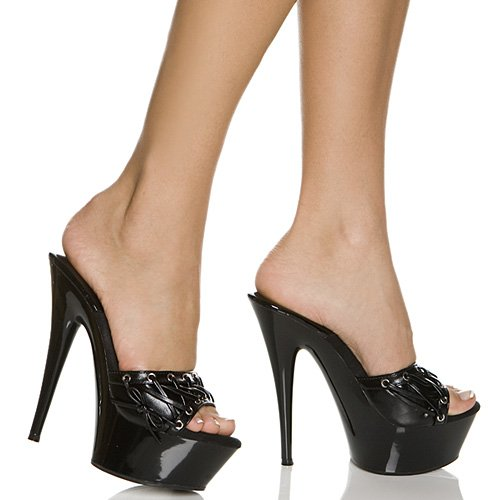 The Highest Heel AMBER-71 B0044VQ03C 12 B(M) US|Black Kid Pu