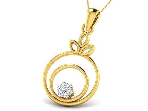 Or Jaune 14 ct Pendentifs Diamant en forme de rond, 0.1 Ct Diamant, GH-SI, 1.09 grammes.