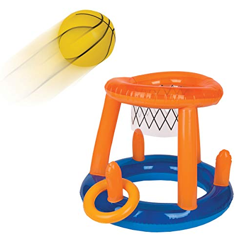 Wembley Basketball Ring Toss Float Game for Adults & Teens, Floating Hoop, Inflatable Ball, 3 Blow-Up Rings, Fun Swimming Sports, Best Pool Party Game for Tournaments, A Slam Dunk & Splash in Water