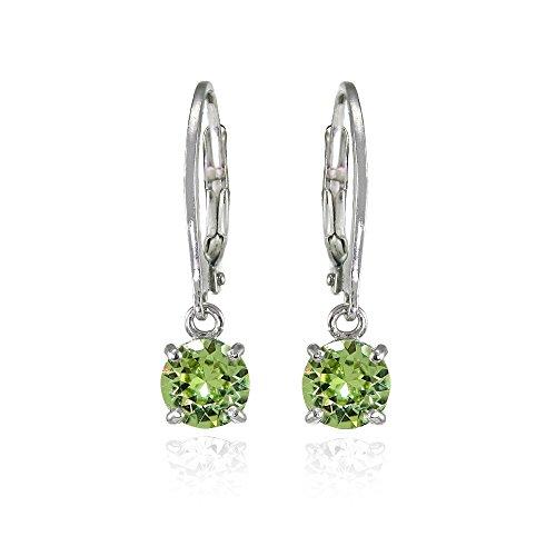 Sterling Silver Light Green 6mm Round Dangle Leverback Earrings Made with Swarovski (Swarovski Dangling Earrings)