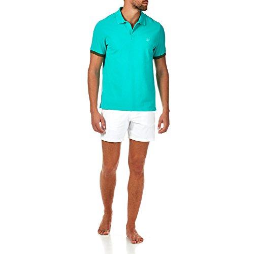 Veronese Homme Vilebrequin Uni Vert Piqué De Polo Coton 86fxH