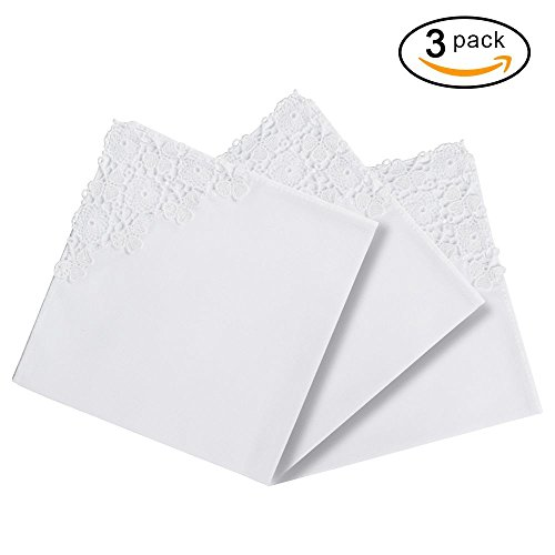 RICOSKY Bridal Wedding White Crochet Lace Handkerchief Pack of 3 (Bridal Hankie)