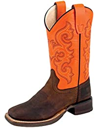 Children's Leather Broad Square Toe Cowboy Boots - Brown Neon Orange