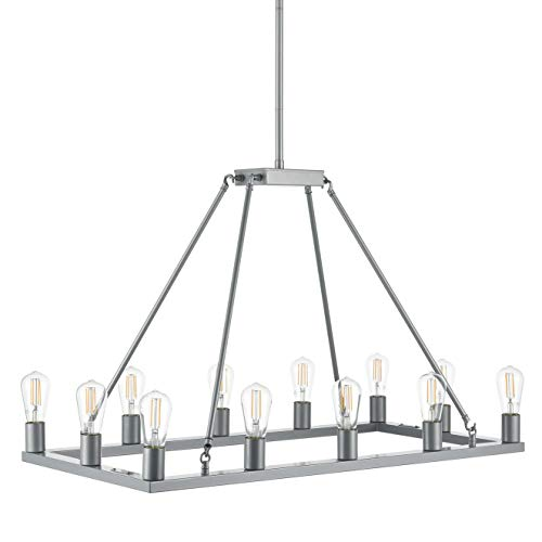 Sonoro Large Rectangular 12 Light Dining Room Industrial Chandelier | Silver Kitchen Island Light Fixtures with LED Bulbs ()