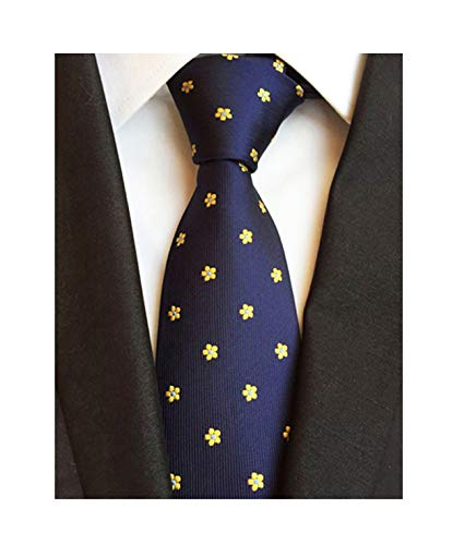 Floral Handmade Woven Tie - Men Boy Navy Blue Yellow Floral Silk Handmade Ties Jacquard Woven Dating Necktie