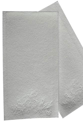 MOCKO Disposable Hand Napkins: 100 Absorbent Air-Laid Paper Bathroom Guest Towels, Floral Embossed Cloth-Like Soft Hand Towels, Elegant White For Birthday & Cocktail Parties, Dinners, Events, (Embossed Guest Towels)