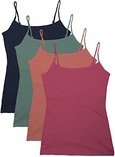 Active Women Short Camisole with Fabric Self Bra-D Ros/D Slm/D Sage/Dn Blu-S