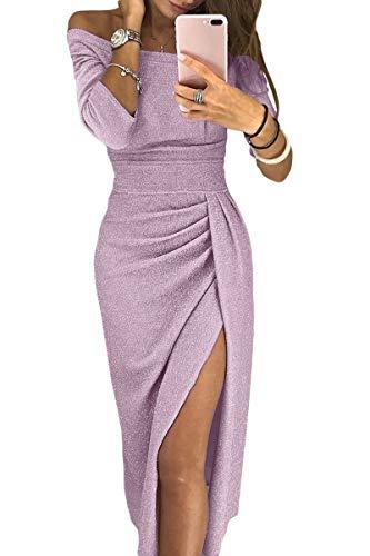 Sequin Dress Knit - Tiksawon Off The Shoulder Dresses for Women Party Wedding Fashion Sequin Knit High Waist High Slit Slim Dress Light Pink S
