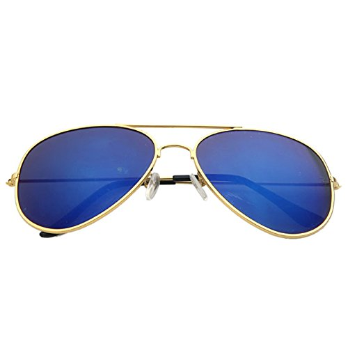 Ikevan 2017 Fashion Unisex Vintage Retro Aviator Mirror Lens Sunglasses Reflective Color Film sunglasses - Lenses Colour Natural