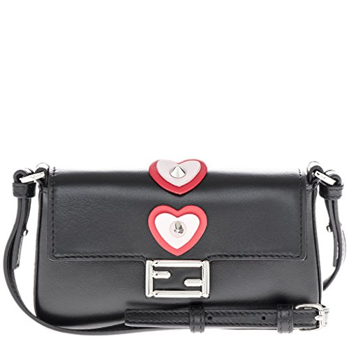 Fendi Women's Women's Micro Baguette Heart-Appliquà Cross-Body Bag Black + Red