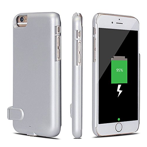 Price comparison product image Wyness Iphone6/6s plus Battery Case,2000mAh Rechargeable Power Bank Case,Charging Receiver Back Cover for iPhone6/6s plus (5.5 inch)(Silver)