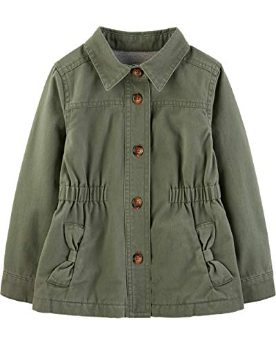 Simple Joys by Carter's Girls' Twill Button up Jacket, Olive Green, 12 Months (Olive Baby)