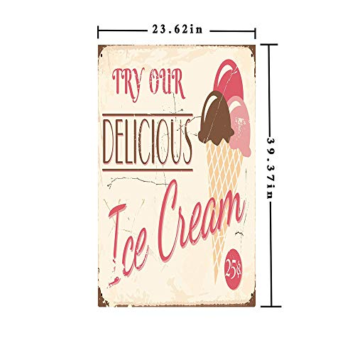 Window Films Privacy Decorate 3D No Glue Static,Try Our Delicious Ice Cream Logo Pop Art Style Advertisement Graphic Decorative,W15.7xL63in,for Home Office with Pink Cream ()