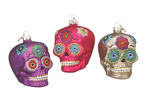 Day of the Dead Sugar Skulls Glass Holiday Ornaments Set of 3 -