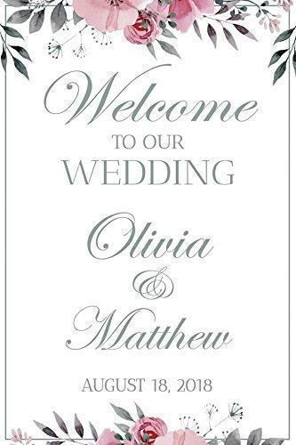 Wedding Reception Sign, White Wedding Banner, Welcome to our Wedding, Wedding party Banner, Wedding Party Signs, Custom Wedding Sign, Handmade Party Supply Poster Print, Size 36x24, -