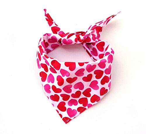 Tie On Pink and Red Hearts Dog Bandana, Valentine's Day Neck Accessory Petwear Doggie Neckwear Festive Romantic ()