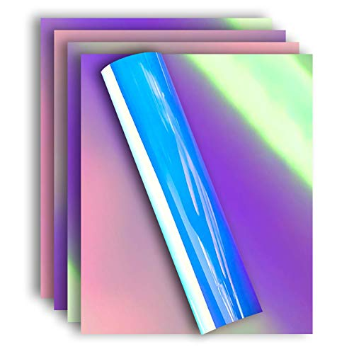 Holographic Iridescent Foil Heat Transfer Vinyl Iron On HTV Bundle for T Shirts, 12x10 Inch, Pack of 5 Sheets ()