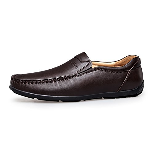 Loafers Casual Brown Shoes Leather Toe Mens's Moc ZRO Stitching 5f18qPxYYw