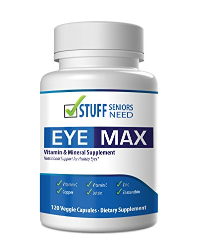 Macular Degeneration Eye Vitamin & Mineral Supplement for Eye Care – 120 Veggie Capsules – Vitamin C, Vitamin E, Zinc, Copper, Lutein 10 mg and Zeaxanthin 2mg from Stuff Seniors Need – Made in USA