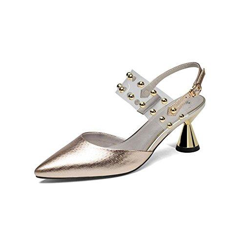 ZHRUI Zapatos de Tacón Y5919 Mujeres Sandalias Zapatos Individuales Sandalias Casual Comercio Ceremonia de la Boda Tacones Alien Heel Altura del Talón 6cm Golden, Silver Gold