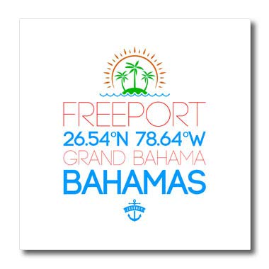 3dRose Alexis Design - Cities Bahamas - Freeport, Bahamas. Location Coordinates Elegant Travel Gift, Souvenir - 6x6 Iron on Heat Transfer for White Material - Freeport Light Six