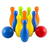 Toy Bowling Play Set Deluxe for Children Children's Colorful 12 Piece Toy Bowling Set w/ 10 Pins, 2 Bowling Balls, Carrying Case