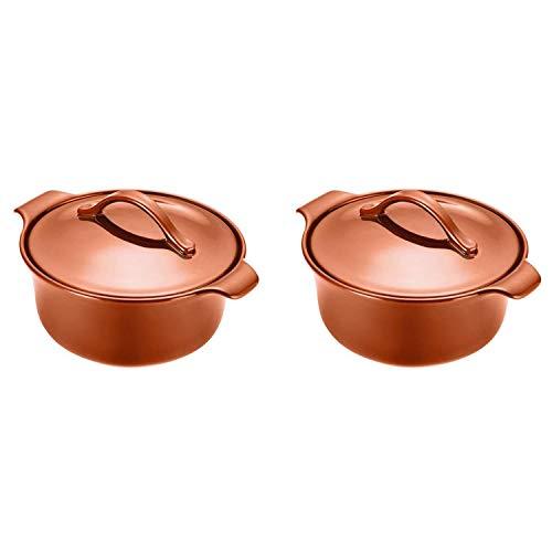 Anolon Vesta Stoneware 2.5 Quart Covered Round Casserole Dish, Persimmon Orange (2 Pack)