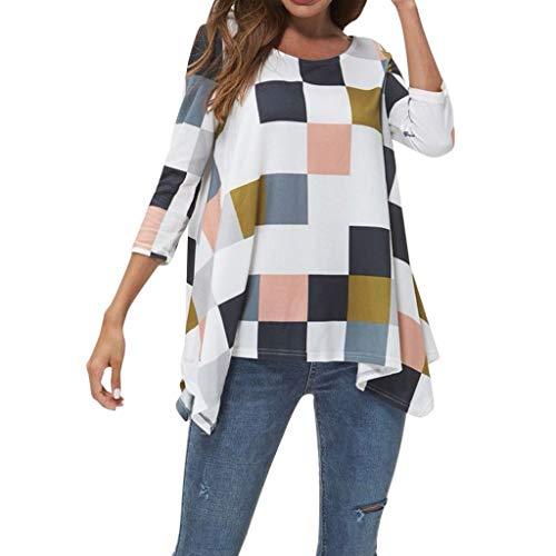 Womens Casual Long Sleeve O-Neck Plaid Print Irregular Loose Sweatshirt Tops Pullover Shirts Blouses (S-2XL)
