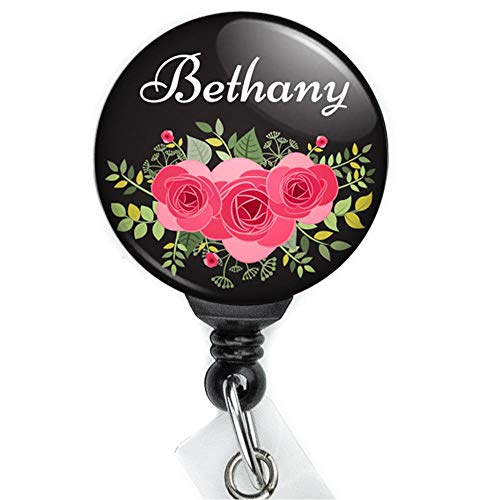 Pink Rose Bouquet Custom Personalized Retractable Badge Reel with Swing Clip and 36 Inch Cord.