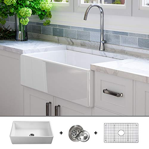 Luxury 33 inch Pure Fireclay Modern Farmhouse Kitchen Sink in White, Single Bowl, Flat Front, includes Stainless Steel Grid and Drain, FSW1002 by Fossil Blu