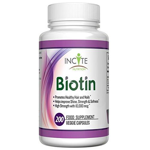 Inciter à la biotine Nutrition 10, 000mcg cheveux et ongles, complément alimentaire, 200 Capsules