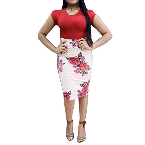 - Women's Short Sve O-Neck Splicing Bohean Floral Printed Buttock Dress Sexy Bodycon Dresses Hip Dress Red