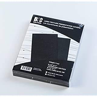 BNC Letter Size Linen Texture Paper Presentation Covers Black Color, Pack of 100