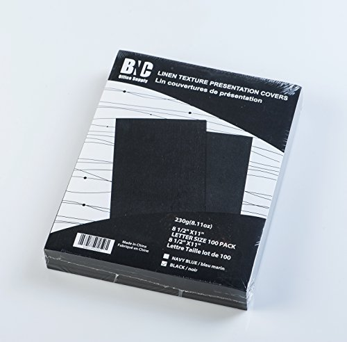 BNC Letter Size Linen Texture Presentation Covers Black Color, Pack of 100