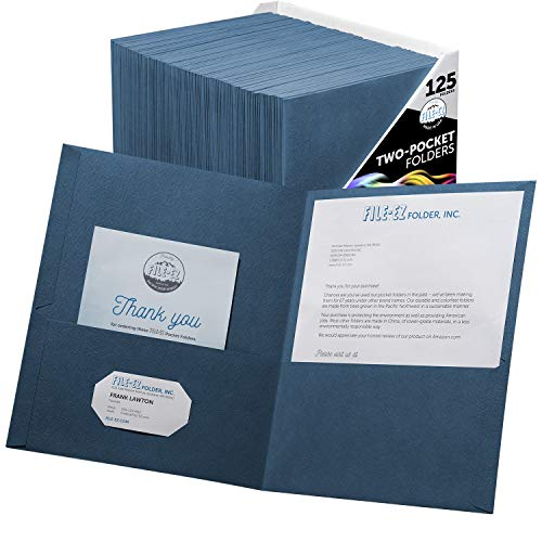 FILE-EZ Two-Pocket Folders, Dark Blue, 125-Pack, Textured Paper, Letter Size (EZ-32423)