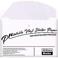 """Printable Vinyl for Inkjet Printer - 30 Pack Printable Vinyl Sticker Paper Matte White - Standard Size 8.5""""x11"""""""